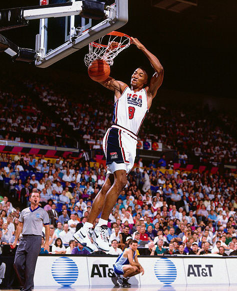 PORTLAND - JUNE 1992: Scottie Pippen #8 of the USA Men's Senior National Team dunks against Argentina during the Men's Tournament of Americas in June of 1992 at the Rose Garden in Portland, Oregon. NOTE TO USER: User expressly acknowledges and agrees that, by downloading and/or using this photograph, user is consenting to the terms and conditions of the Getty Images License Agreement. Mandatory Copyright Notice: Copyright 2011 NBAE (Photo by Nathaniel S. Butler/NBAE via Getty Images)