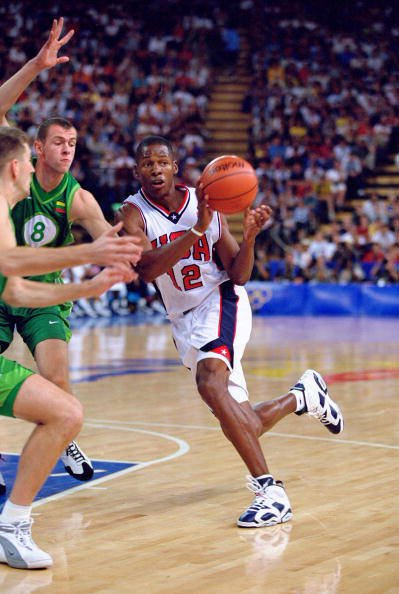 21 Sep 2000: Ray Allen of the USA in action during the Men's Basketball Preliminaries against Lithuania at the Dome in the Olympic Park on Day Six of the Sydney 2000 Olympic Games in Sydney, Australia. Mandatory Credit: Andy Lyons /Allsport