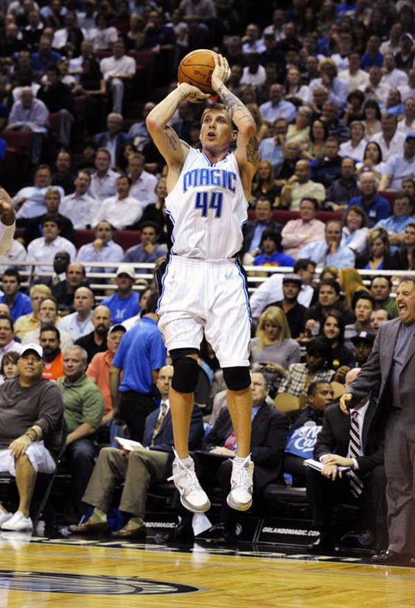 ORLANDO, FL - NOVEMBER 11: Jason Williams #44 of the Orlando Magic shoots against the Cleveland Cavaliers during the game on November 11, 2009 at Amway Arena in Orlando, Florida. NOTE TO USER: User expressly acknowledges and agrees that, by downloading and/or using this Photograph, user is consenting to the terms and conditions of the Getty Images License Agreement. (Photo by Sam Greenwood/Getty Images)