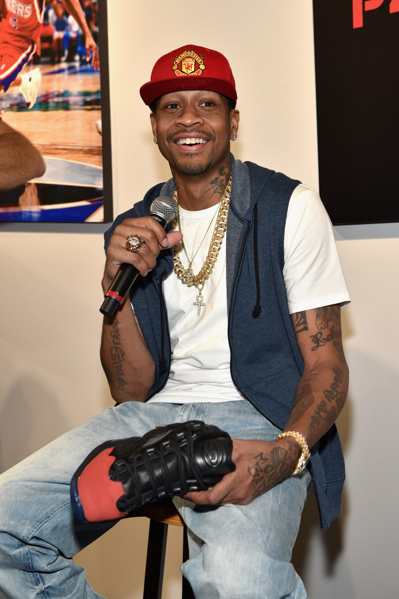 NEW YORK, NY - SEPTEMBER 15: Allen Iverson speaks at the Reebok X Packer Shoes launch party to celebrate Allen Iverson at Reebok FitHub Union Square on September 15, 2016 in New York City. (Photo by Bryan Bedder/Getty Images for Reebok)