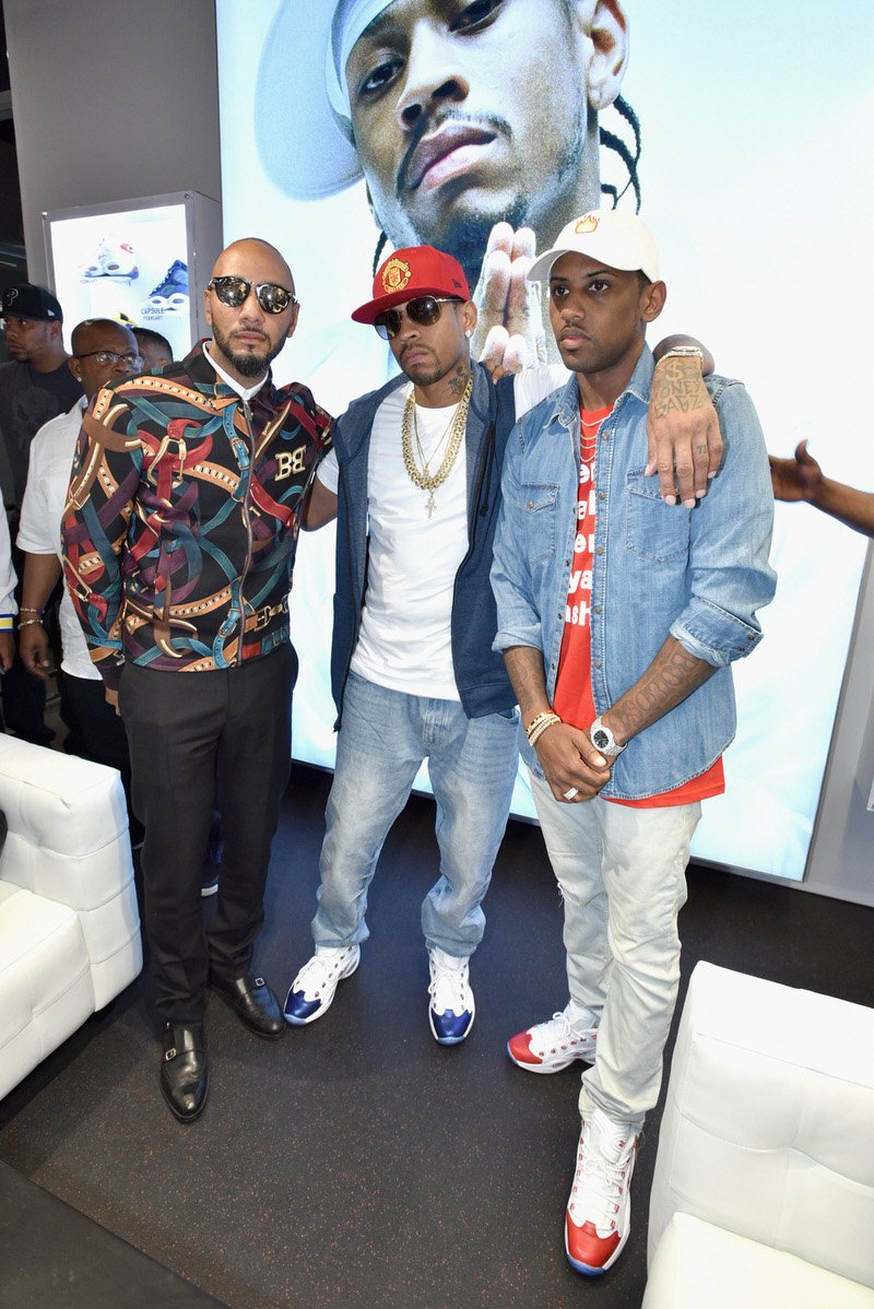 NEW YORK, NY - SEPTEMBER 15: Swizz Beatz, Allen Iverson and Fabolous attend the Reebok X Packer Shoes launch party to celebrate Allen Iverson at Reebok FitHub Union Square on September 15, 2016 in New York City. (Photo by Bryan Bedder/Getty Images for Reebok)