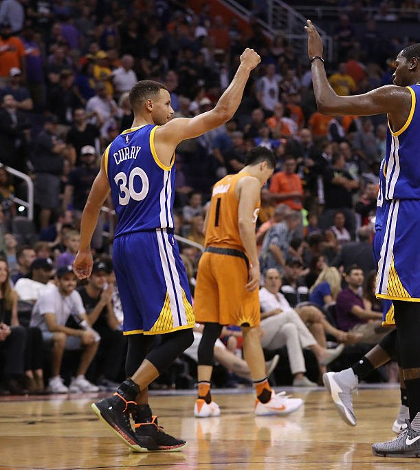 during the second half of the NBA game at Talking Stick Resort Arena on October 30, 2016 in Phoenix, Arizona. The Warriors defeated the Suns 106 -100. NOTE TO USER: User expressly acknowledges and agrees that, by downloading and or using this photograph, User is consenting to the terms and conditions of the Getty Images License Agreement.