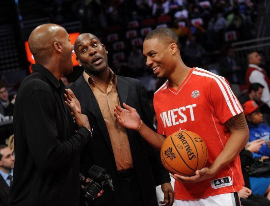HOUSTON, TX - FEBRUARY 16: NBA Legends Sam Cassell and Gary Payton talk with Damian Lillard of the West team during 2013 Sears Shooting Stars Competition on State Farm All-Star Saturday Night as part of 2013 NBA All-Star Weekend on February 16, 2013 at Toyota Center in Houston, Texas. NOTE TO USER: User expressly acknowledges and agrees that, by downloading and or using this photograph, User is consenting to the terms and conditions of the Getty Images License Agreement. Mandatory Copyright Notice: Copyright 2013 NBAE (Photo by Noah Graham/NBAE via Getty Images)