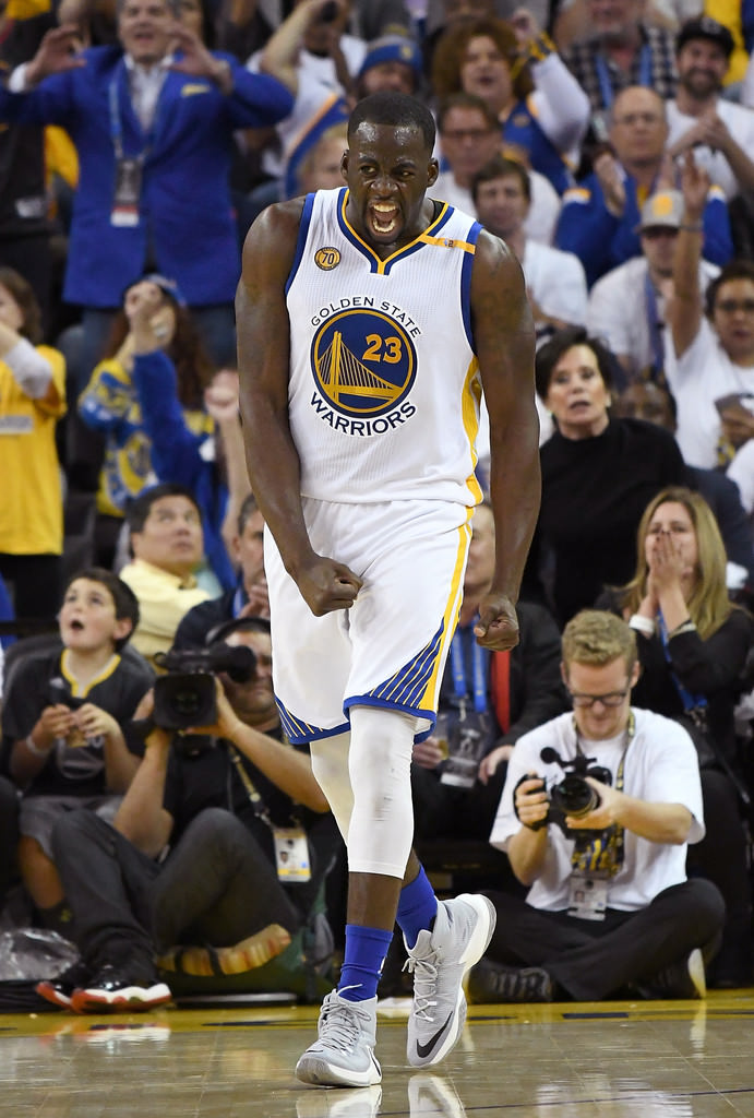 """Draymond Green celebrates in the Nike Zoom Clear Out """"Battle Grey"""""""