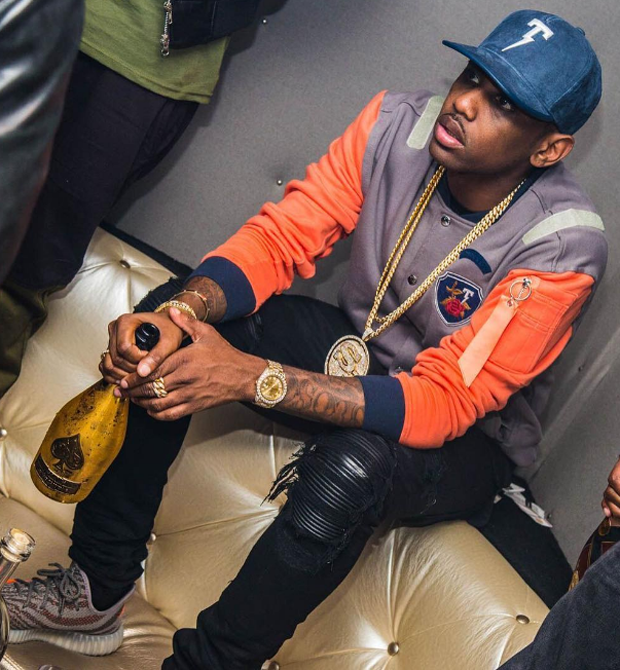 Fabolous in the adidas Yeezy Boost 350 V2 Beluga/Solar Red