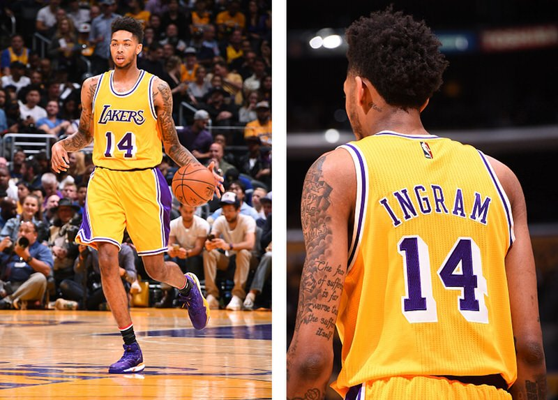 LOS ANGELES, CA - NOVEMBER 4: Brandon Ingram #14 of the Los Angeles Lakers is seen during the game against the Golden State Warriors on November 4, 2016 at STAPLES Center in Los Angeles, California. NOTE TO USER: User expressly acknowledges and agrees that, by downloading and/or using this Photograph, user is consenting to the terms and conditions of the Getty Images License Agreement. Mandatory Copyright Notice: Copyright 2016 NBAE (Photo by Andrew D. Bernstein/NBAE via Getty Images)