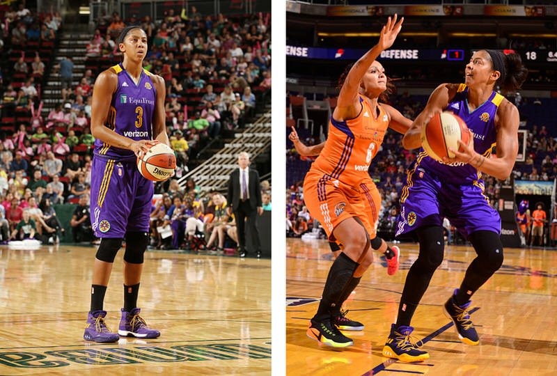 PHOENIX, AZ - AUGUST 28: Candace Parker #3 of the Los Angeles Sparks handles the ball against Mistie Bass #8 of the Phoenix Mercury on August 28, 2016 at Talking Stick Resort Arena in Phoenix, Arizona. NOTE TO USER: User expressly acknowledges and agrees that, by downloading and or using this photograph, user is consenting to the terms and conditions of the Getty Images License Agreement. Mandatory Copyright Notice: Copyright 2016 NBAE (Photo by Barry Gossage/NBAE via Getty Images)