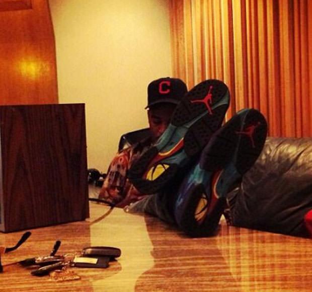 """Kid Cudi in the Air Jordan 8 """"Aqua"""""""