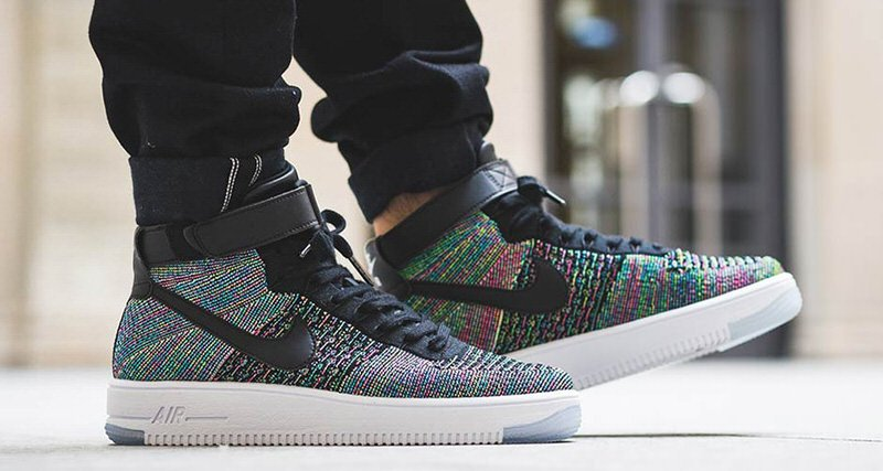 Nike Air Force 1 Ultra Haute Flyknit Reflets Multicolores