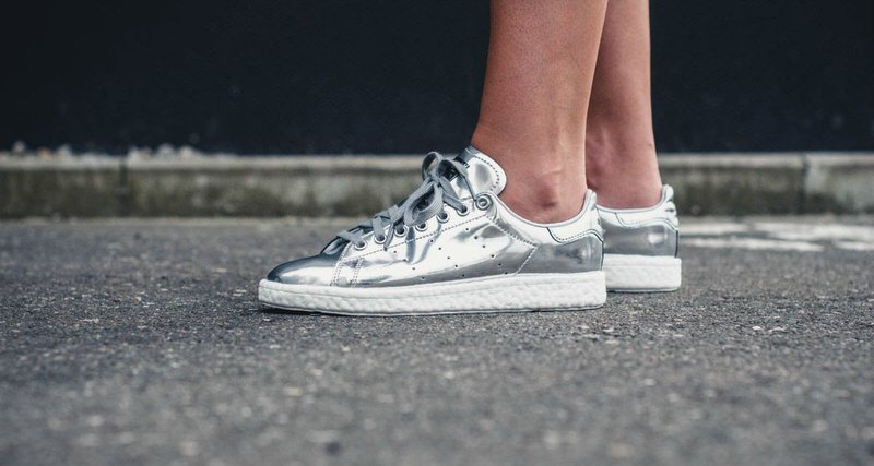 this adidas stan smith boost metallic silver just dropped nice kicks. Black Bedroom Furniture Sets. Home Design Ideas