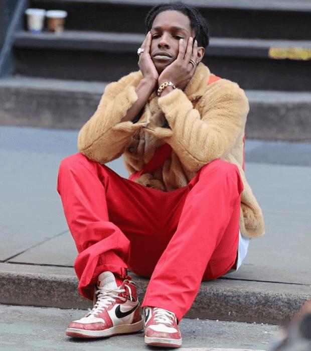 A$AP Rocky in OG Air Jordan 1s