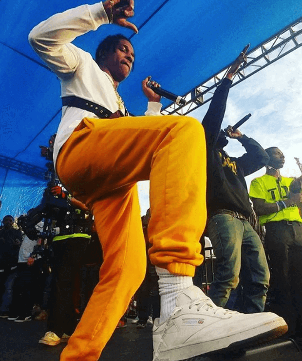 A$AP Rocky in the Gosha Rubchinskiy x Reebok Phase One Pro