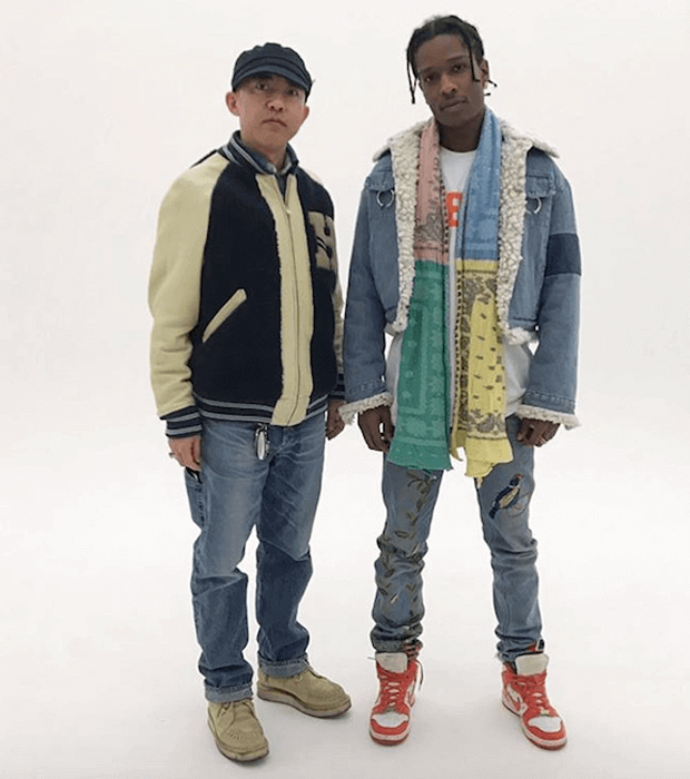 A$AP Rocky in the Supreme x Nike Dunk High