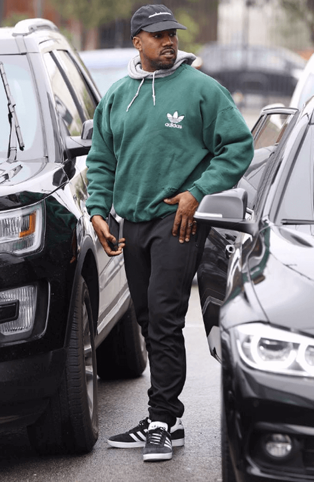 Kanye West in the adidas Gazelle Black/White