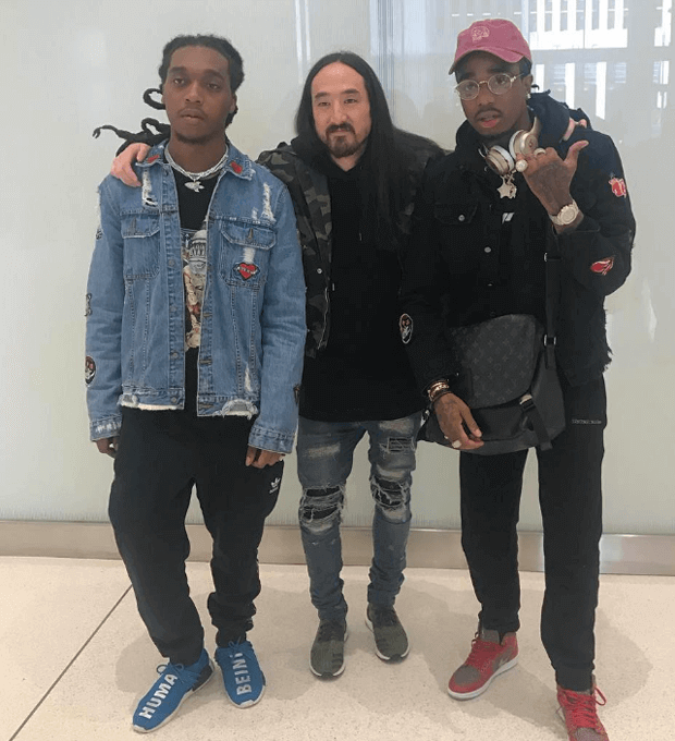 Takeoff in the Pharrell x adidas NMD, Steve Aoki in the adidas Ultra Boost Uncaged & Quavo in the Levi's x Air Jordan 1
