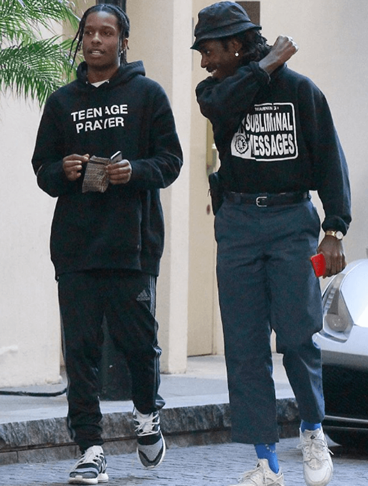 A$AP Rocky in the adidas Y3 Pure Boost ZG Knit & Blood Orange in the Nike Air Huarache