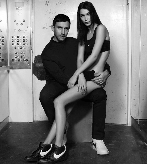 Bella Hadid and Riccardo Tisci in the Nike RT Dunk Lux Chukka
