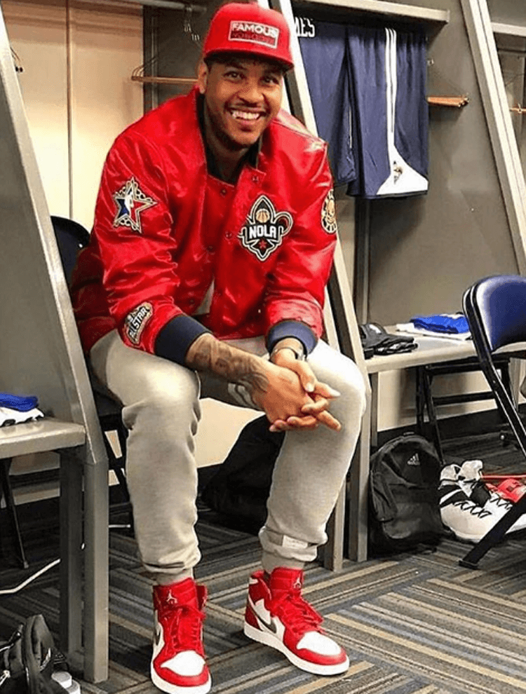 "Carmelo Anthony in the Air Jordan 1 ""Silver Medal"""