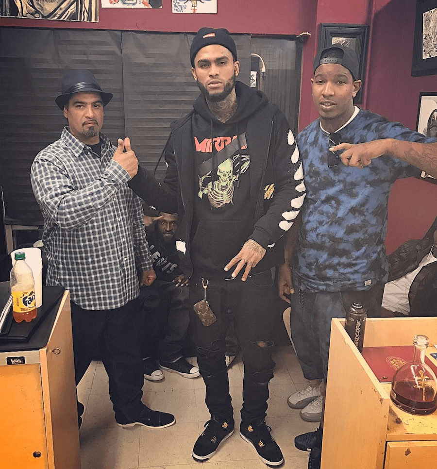 "Dave East in the Air Jordan 4 ""Royalty"""