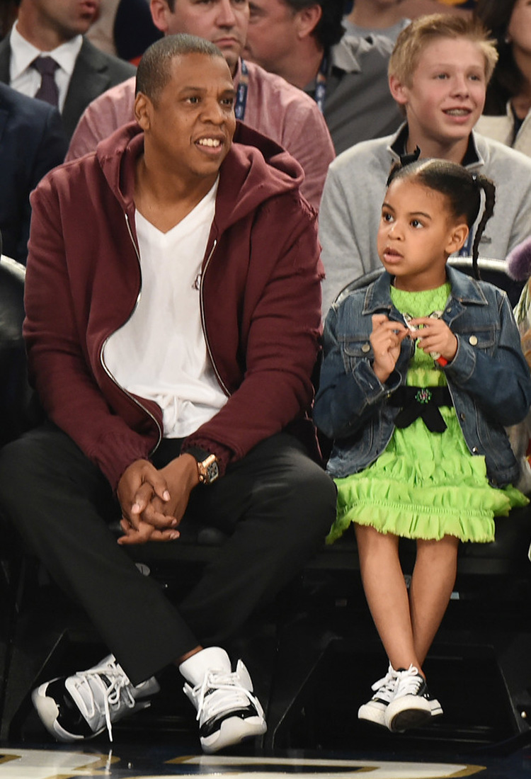 "Jay Z in the Air Jordan 11 Low ""Concord"" & Blue Ivy Carter in the Converse Chuck Taylor"