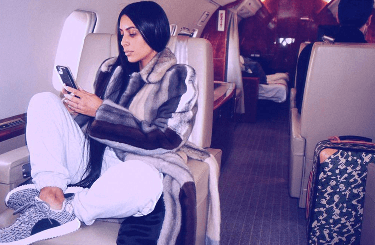 "Kim Kardashian in the adidas Yeezy Boost 350 ""Turtle Dove"""