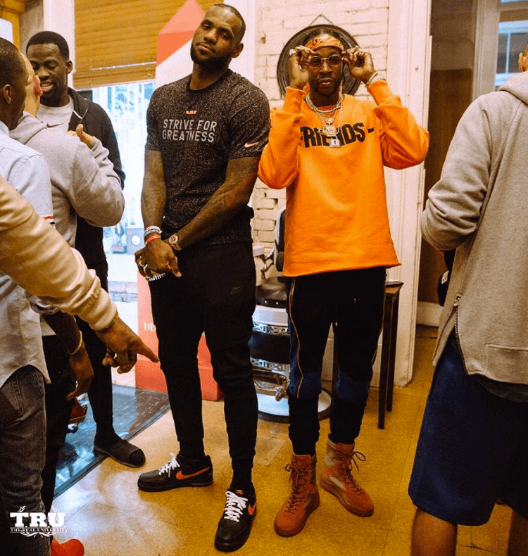LeBron James in the VLONE x Nike Air Force 1 Low & 2 Chainz in Yeezy Season Boots