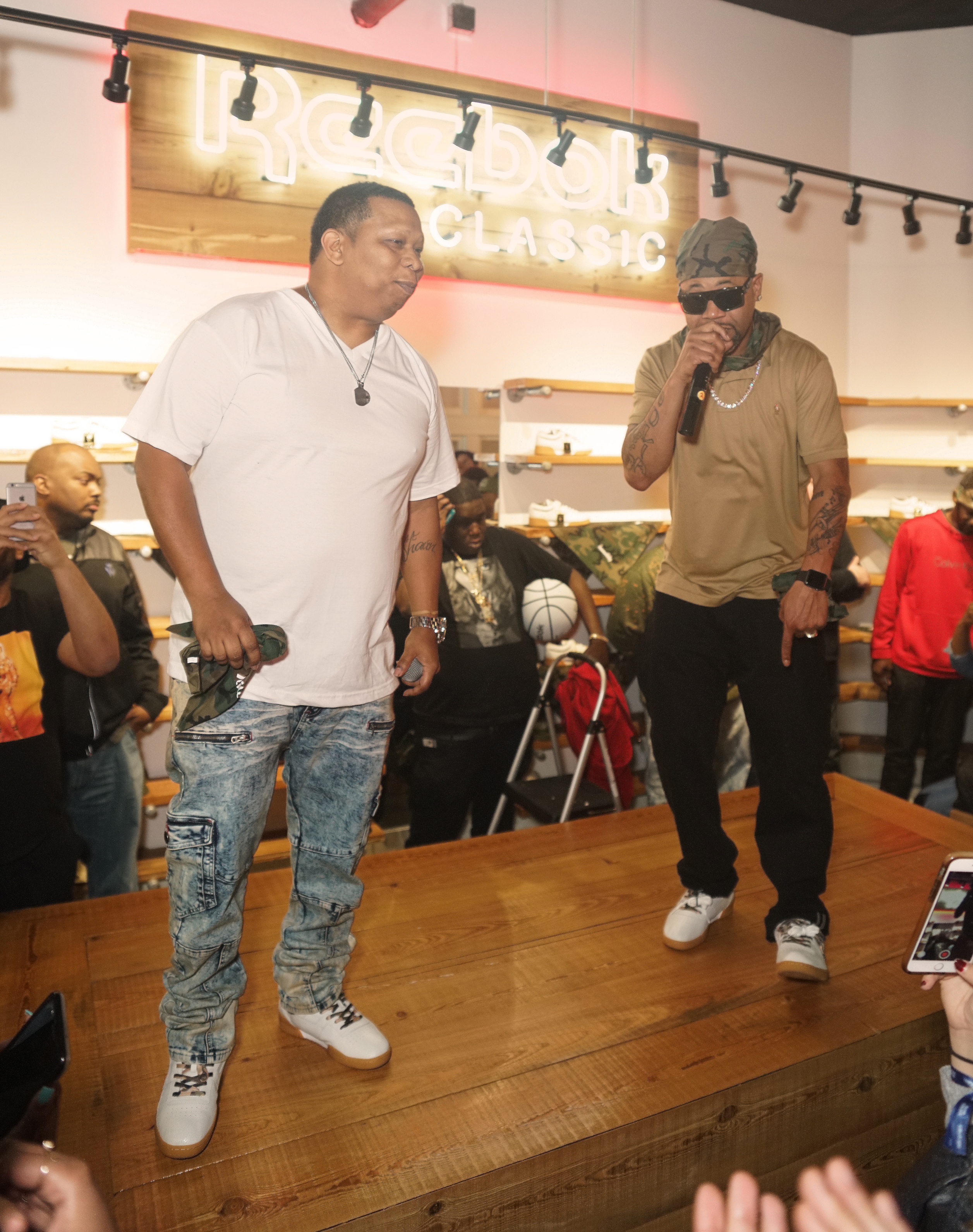 Mannie Fresh & Juvenile in the Sneaker Politics x Humidity x Reebok Workout Lo Clean