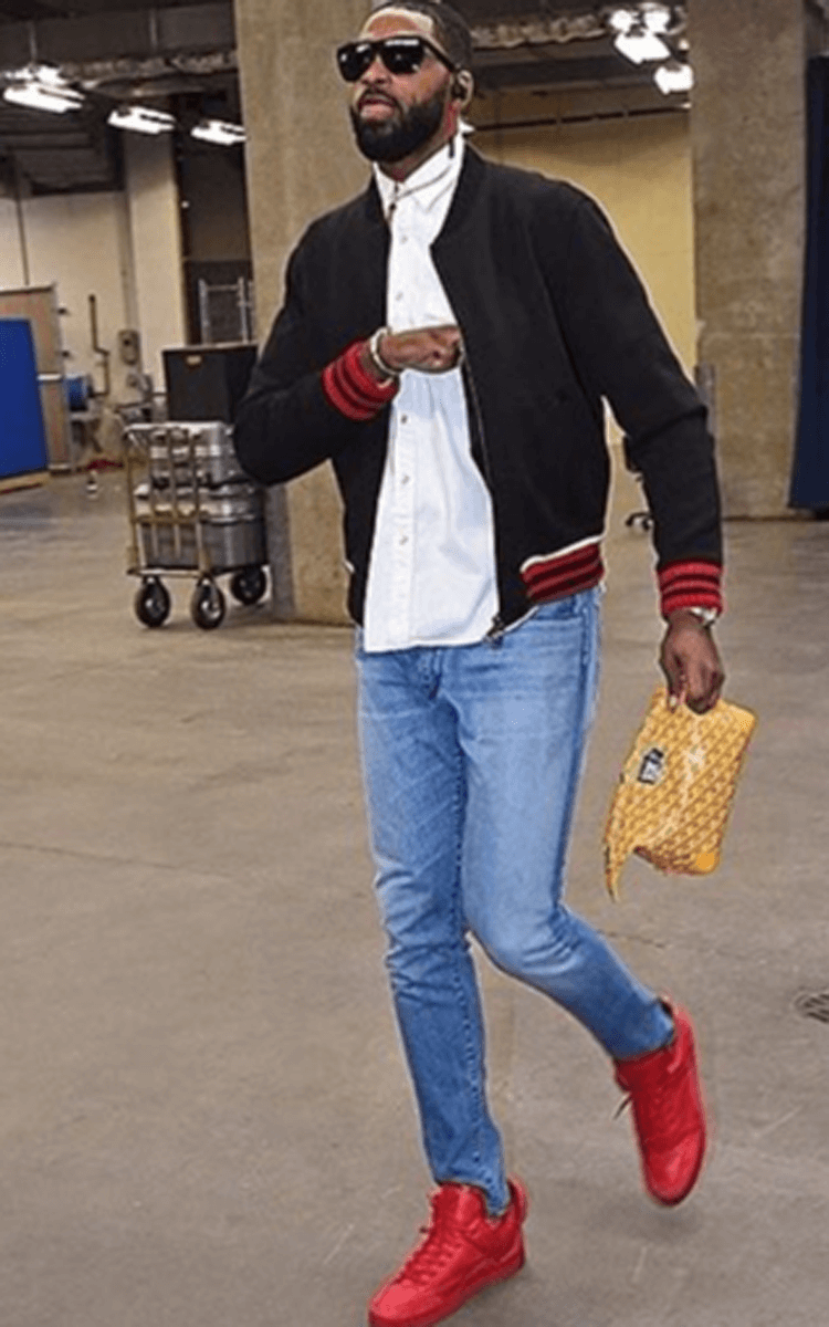 Tristan Thompson in the Louis Vuitton Don Red/Red