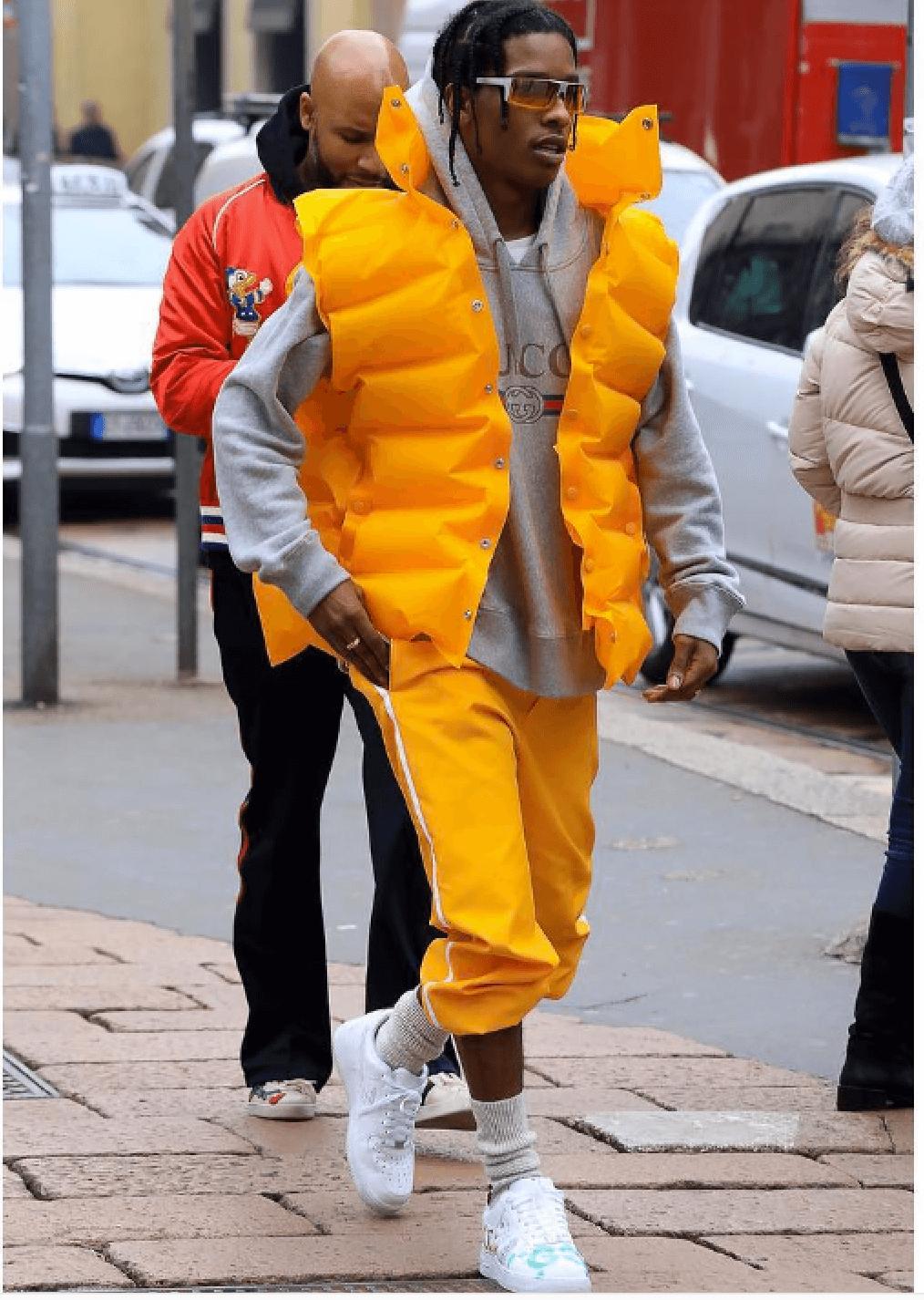 A$AP Rocky in custom Nike Air Force 1s