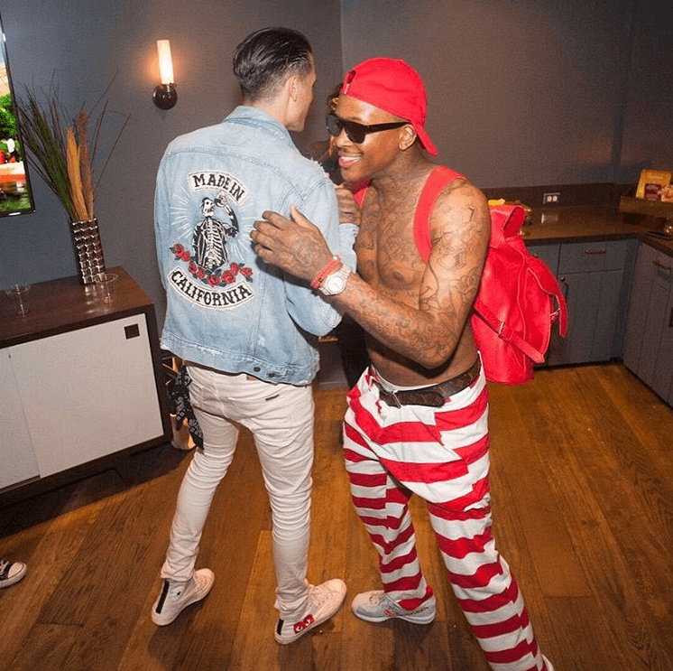 G Eazy in Converse x CDG Play Chuck Taylor High & YG in Nike Cortez