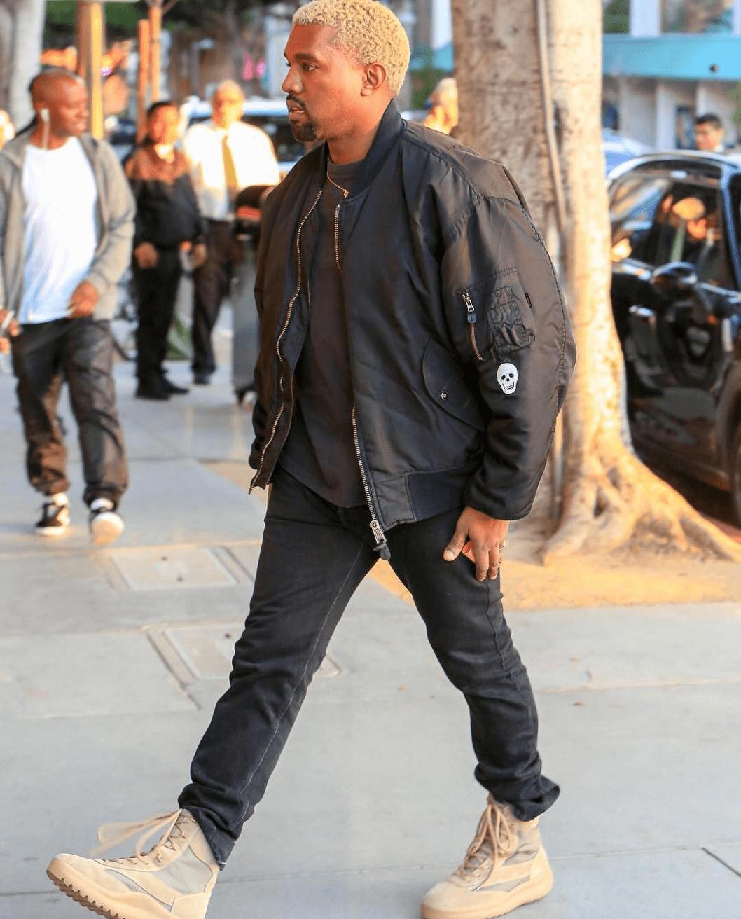 Kanye West in Yeezy Season 5 Boots