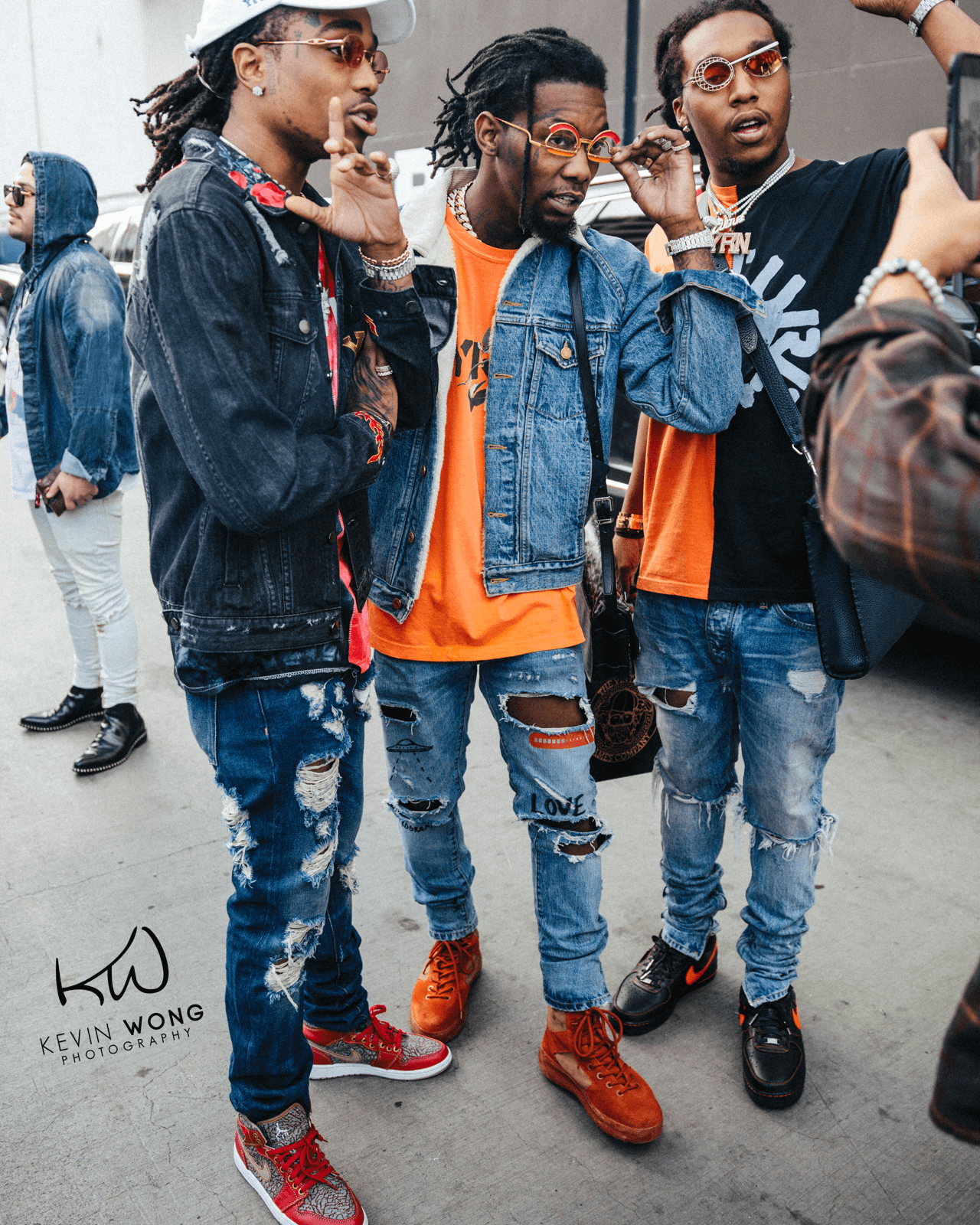 Quavo in the Levi's x Air Jordan 1, Offset in Yeezy Season 3 Boots & Offset in the VLONE x Nike Air Force 1