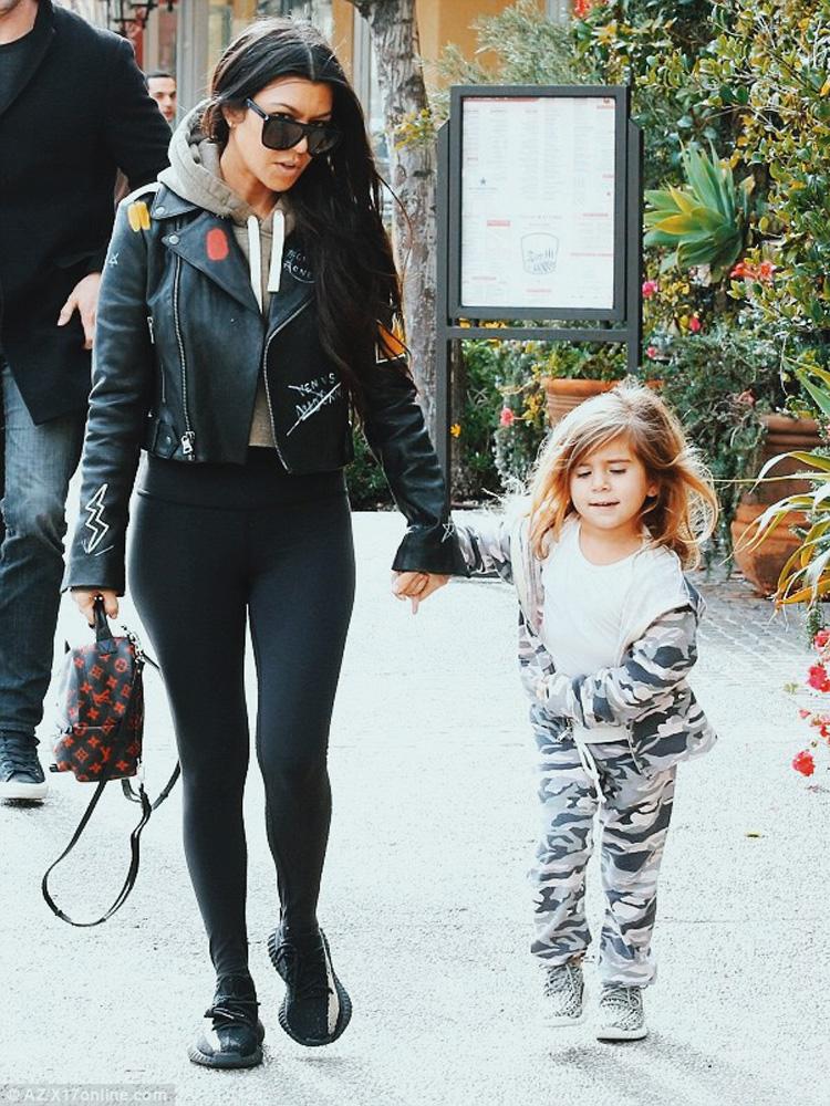 Kourtney Kardashian in the adidas Yeezy Boost 350 V2 Black/White