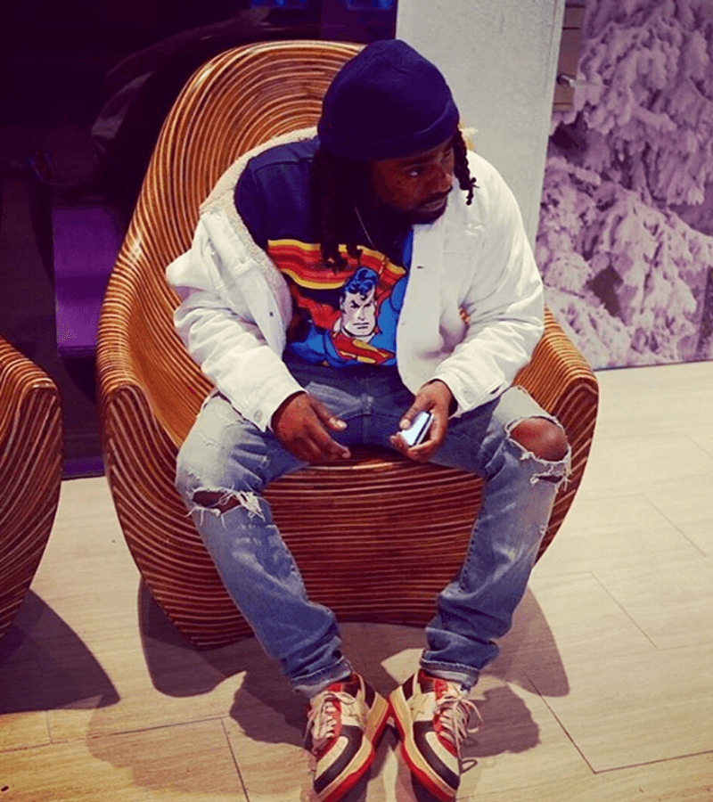 Wale in the Kanye West x A Bathing Ape Bapestas