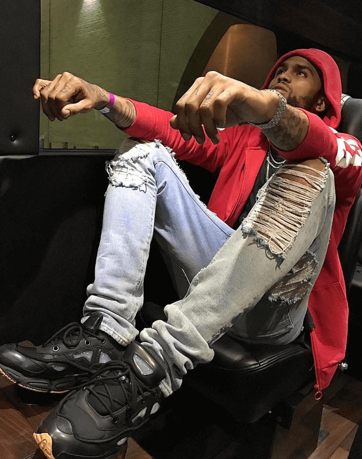 Dave East in the Adidas Raf Simons Ozweego Bunny Sneakers