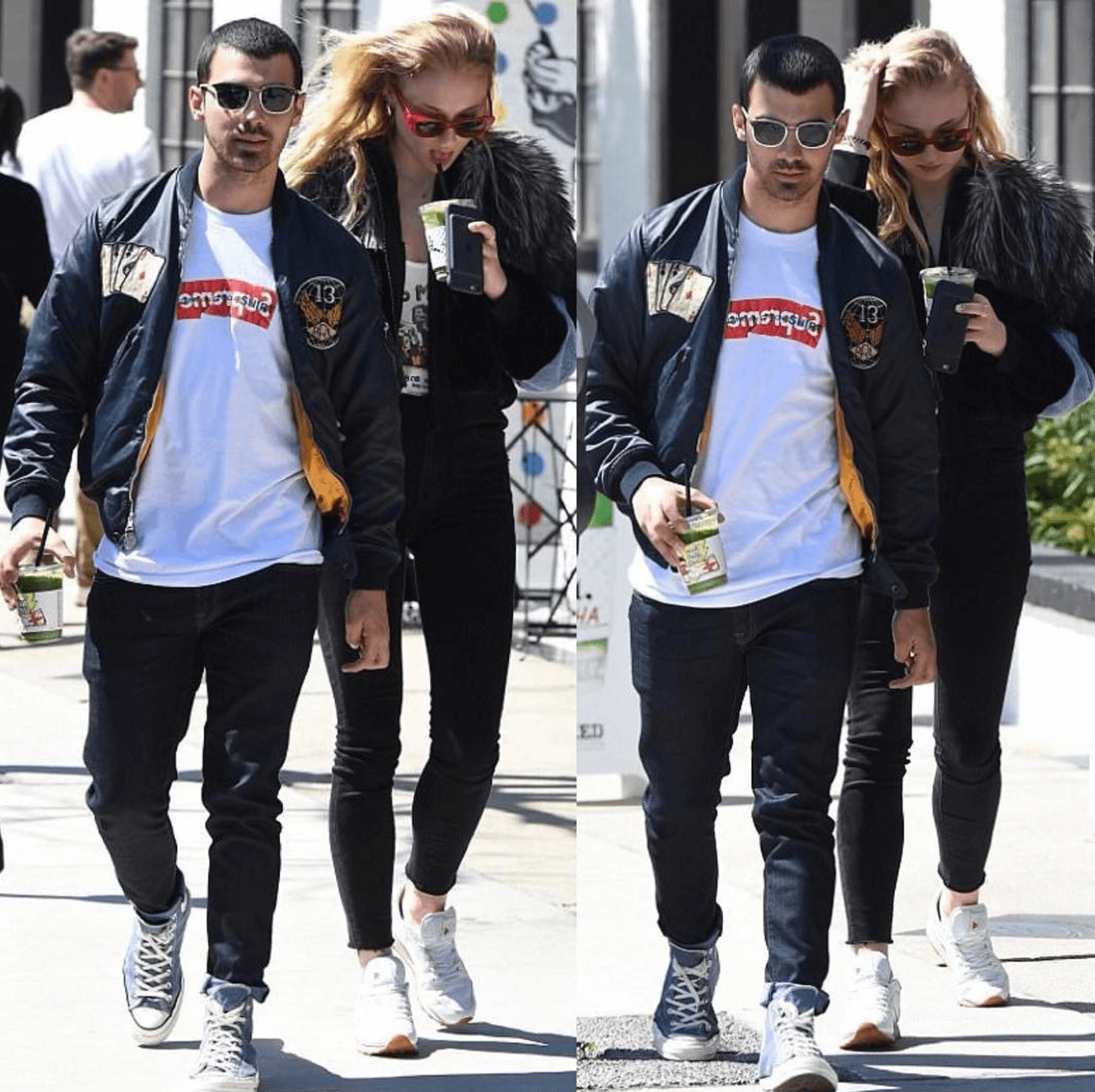 Joe Jonas in the Converse Chuck Taylor High Sneakers & Sophie Turner in the Reebok Classics