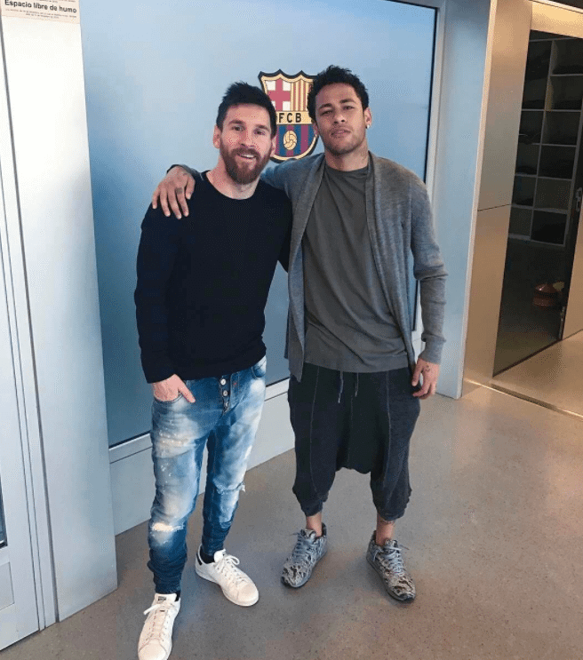 "Messi in the Adidas Stan Smith Sneakers & Neymar in the Air Max 90 "" Moon Landing"""
