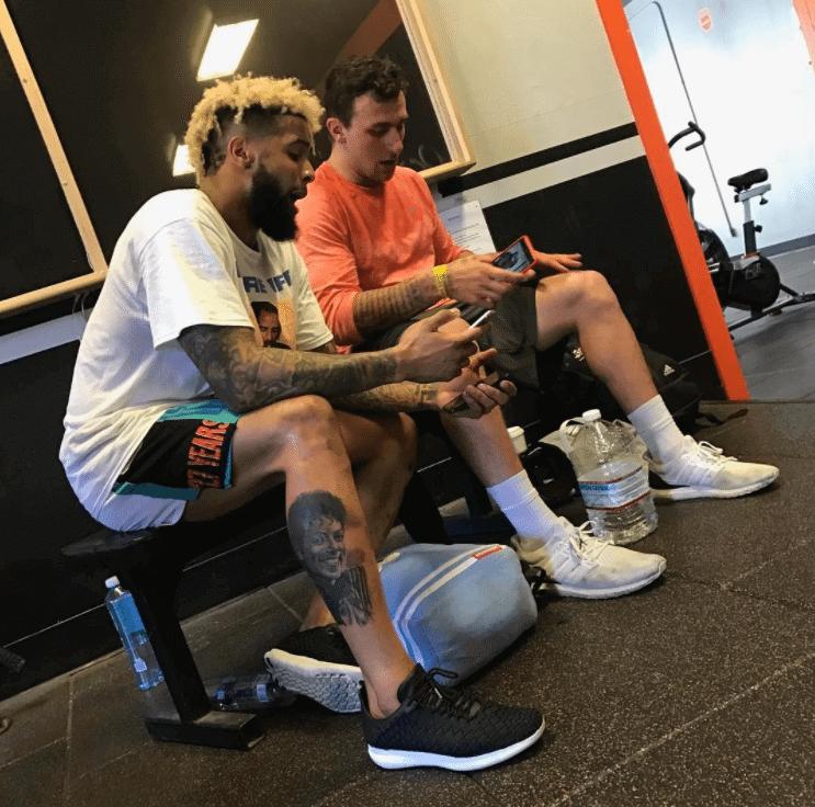 "Odell Beckham in the Nike Free Inneva & Jonny Manziel in the Adidas Ultra Boost ""TAMU"" PE"