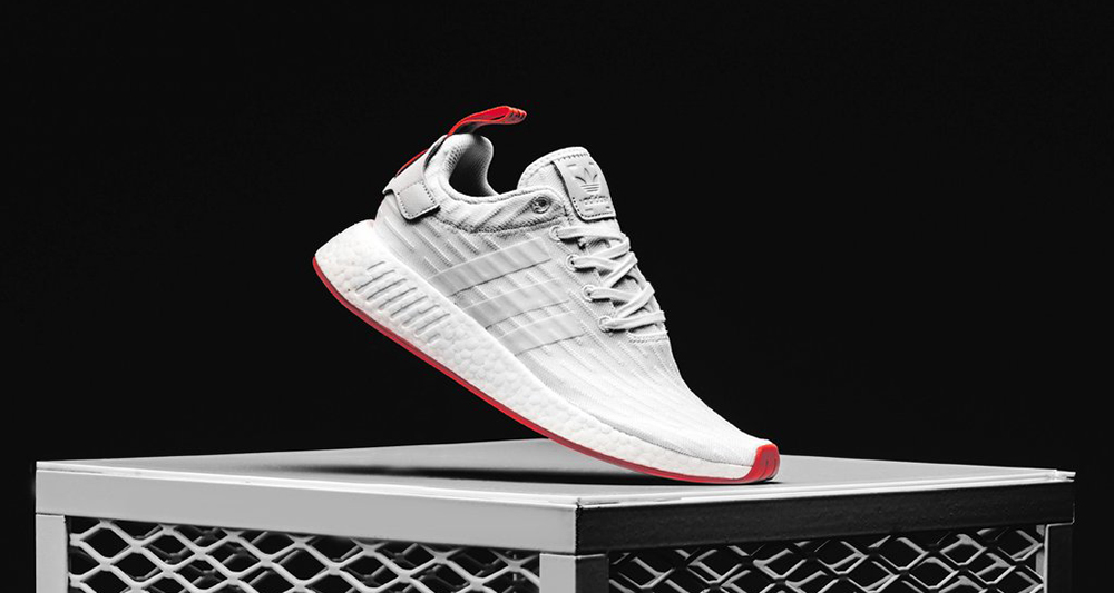 Adidas Men NMD R2 Primeknit white footwear white core red Bait