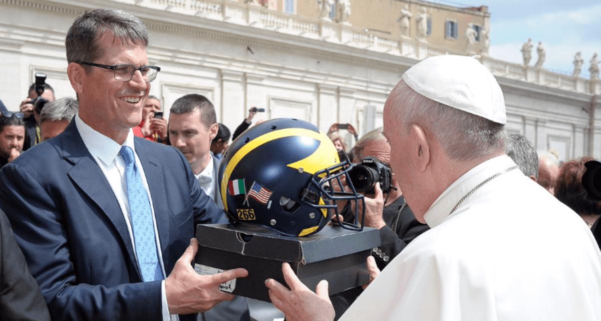 "Pope Francis with the Air Jordan 5 Retro PE ""Michigan"""