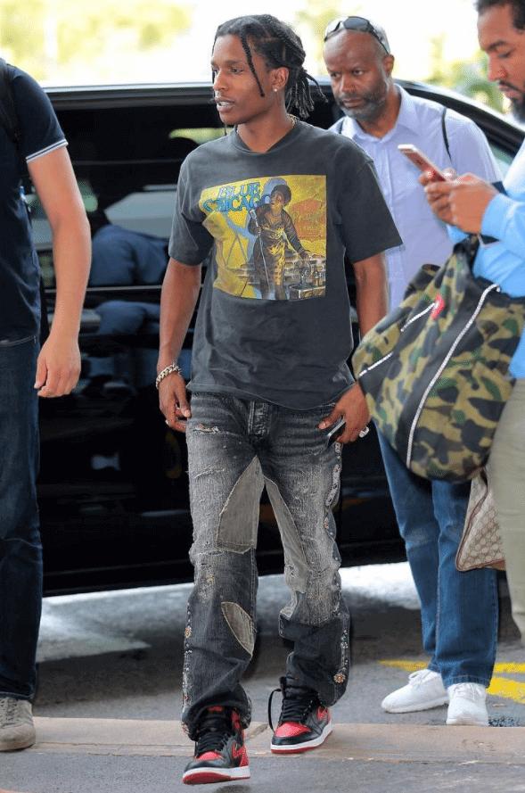 """ASAP Rocky in the Air Jordan 1 Retro High OG """"Bred"""""""