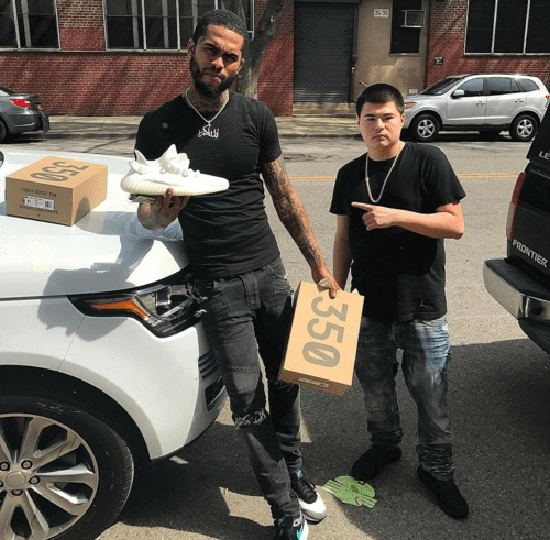 """Dave East in the Atmos x Nike Air Max 1 Retro & Adidas Yeezy Boost 350 V2 """"Cream White"""""""