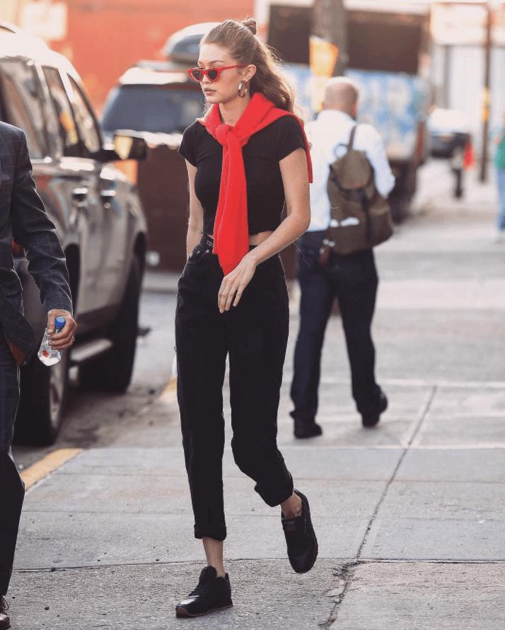GiGi Hadid in the Reebok Classic Leather