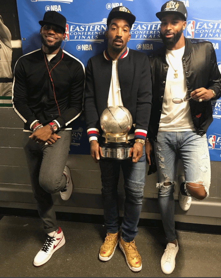 "Lebron James in the Air Jordan 1 Retro High OG ""Metallic Red"" & JR Smith Supreme x NikeLab Air More Uptempo & Tristan Thompson in the Common Projects Sneakers"