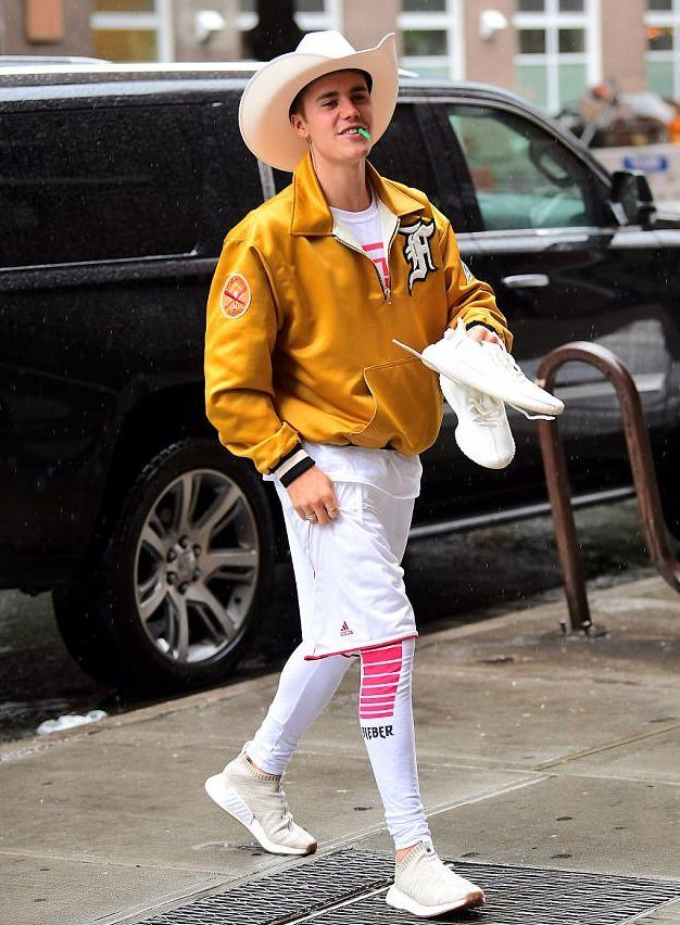 Justin Bieber in the Kith x Naked x Adidas NMD CS2