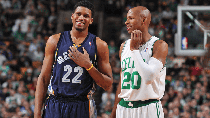 Rudy Gay asks Ray Allen for his kicks. Getty Images