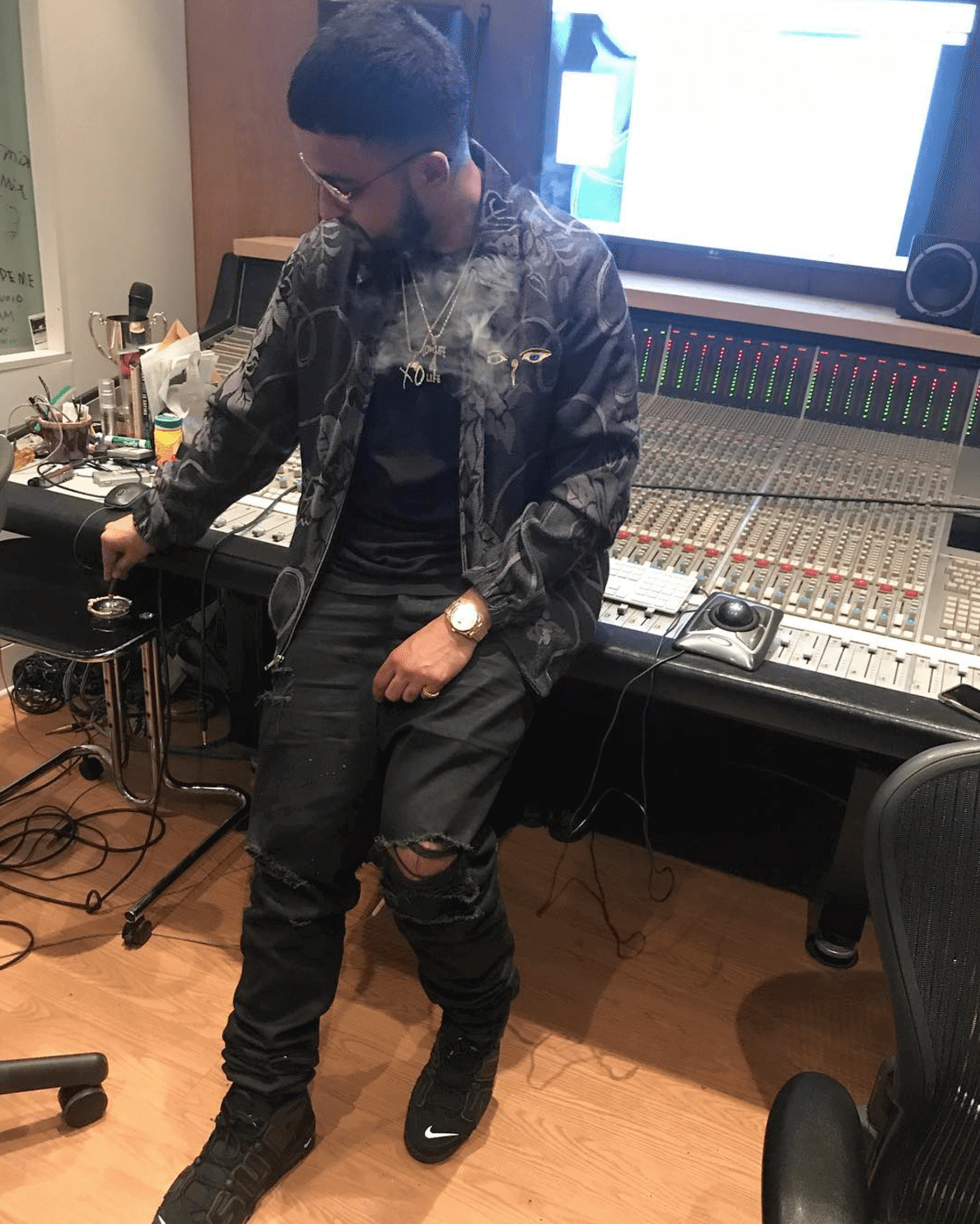 NAV in the Supreme x Nike Air More Uptempo