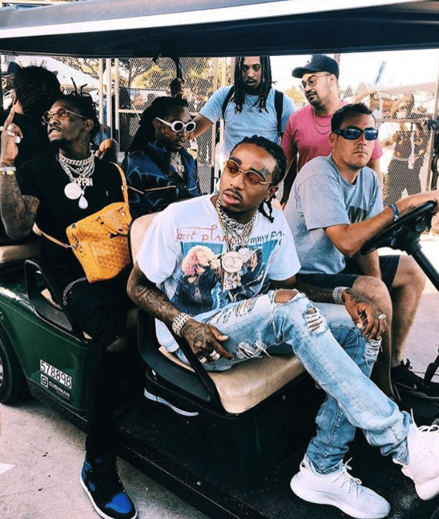"Quavo in the Adidas Yeezy Boost 350 V2 & Offset in the Air Jordan 1 Retro High OG ""Royal"""