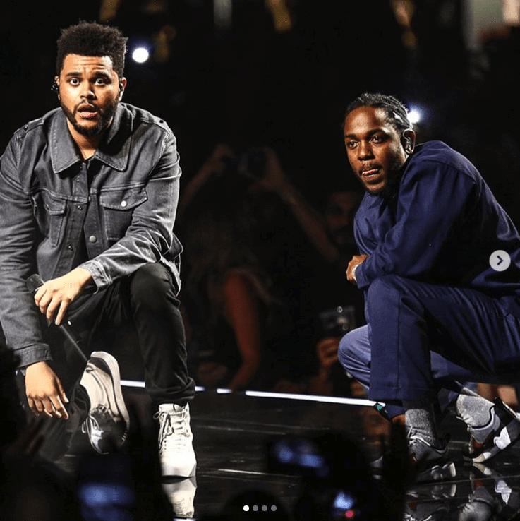 The Weekend in the XO x Puma Sneakers & Kendrick Lamar in the Nike Air Zoom Spiridon