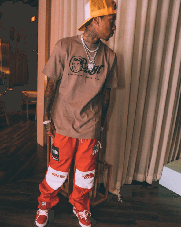 Tyga in the A Bathing Ape Crape Suede Sneakers